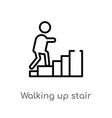 outline walking up stair icon isolated black vector image vector image