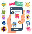 owl stikers vector image