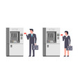 people using atm vector image