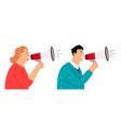 people with megaphone vector image