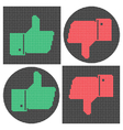 Pixel thumb icons Like icon Dislike icon vector image
