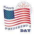 presidents day art with usa flag and fireworks vector image