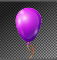 realistic purple or violet balloon with ribbon vector image vector image