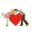 red heart and a loving couple vector image vector image