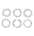 set hand drawn round floral wreaths vector image vector image