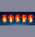 set isolated chinese or sky kongming lanterns vector image