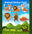 Set of animal sticker