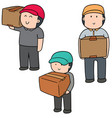 set of delivery man vector image