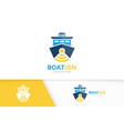 ship and wifi logo combination boat and vector image vector image