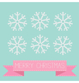 Six button snowflakes blue Pink ribbon Christmas vector image vector image