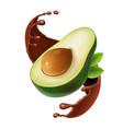 sliced avocado in chocolate smoothie splash vector image vector image