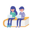 student boy and woman with laptop in book vector image vector image