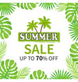summer sale up to 70 percent palm tree banner vector image vector image