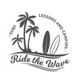 surf club label badge design for surfing camping vector image vector image