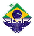 surfing vintage label with palm and brazil flag vector image vector image