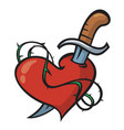 tattoo heart and knife vector image vector image