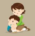 teacher hugs comfort sad boy grievingl vector image vector image