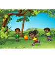 Three kids playing ball in the park vector image vector image