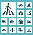 transportation icons set with van sail boat vector image