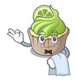waiter lemon cupcake mascot cartoon vector image