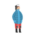 walrus wearing warm jacket and hat with ear flaps vector image