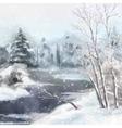 Winter Digital Watercolor Landscape vector image vector image