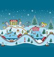 winter seamless pattern cute cartoon hills vector image vector image