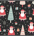 winter seamless pattern with a cute santa vector image