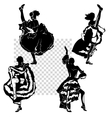 cancan dancers silhouettes set vector image