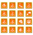 3d printing icons set orange square vector image vector image