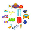 airport icons set cartoon style vector image