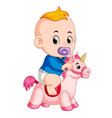 baby play with unicorn toy vector image