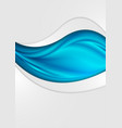 blue smooth waves abstract corporate flyer design vector image vector image