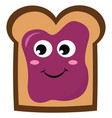 bread with purple jam on white background vector image vector image
