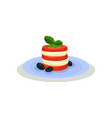 caprese salad in blue ceramic plate traditional vector image