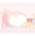 card with silhouette of romantic kissing couple vector image vector image