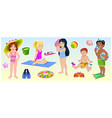 cartoon children on summer beach vector image