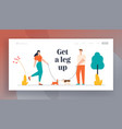 characters walking with dogs in public city park vector image vector image