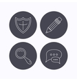 Chat speech bubbles magnifier and pencil icons vector image