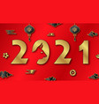 chinese new year 2021 card with ox auspicious vector image