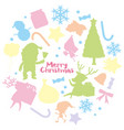 christmas card template with silhouette background vector image