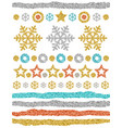christmas ornaments gold glittering snowflakes vector image vector image