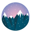 clipart a blue snow-covered mountain range vector image