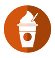 cold coffee cup portable shadow vector image