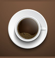 cup coffee on table top view vector image
