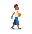 cute young boy playing basketball cartoon vector image