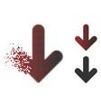 disintegrating dot halftone arrow down icon vector image vector image