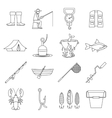 Fishing tools icons set outline style vector image vector image