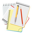 four notebooks yellow pen and red pencil vector image vector image