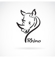 freehand rhino head painting on white background vector image vector image